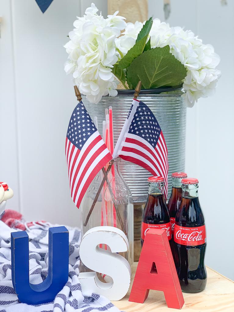 American Flag Hydrangea Bucket