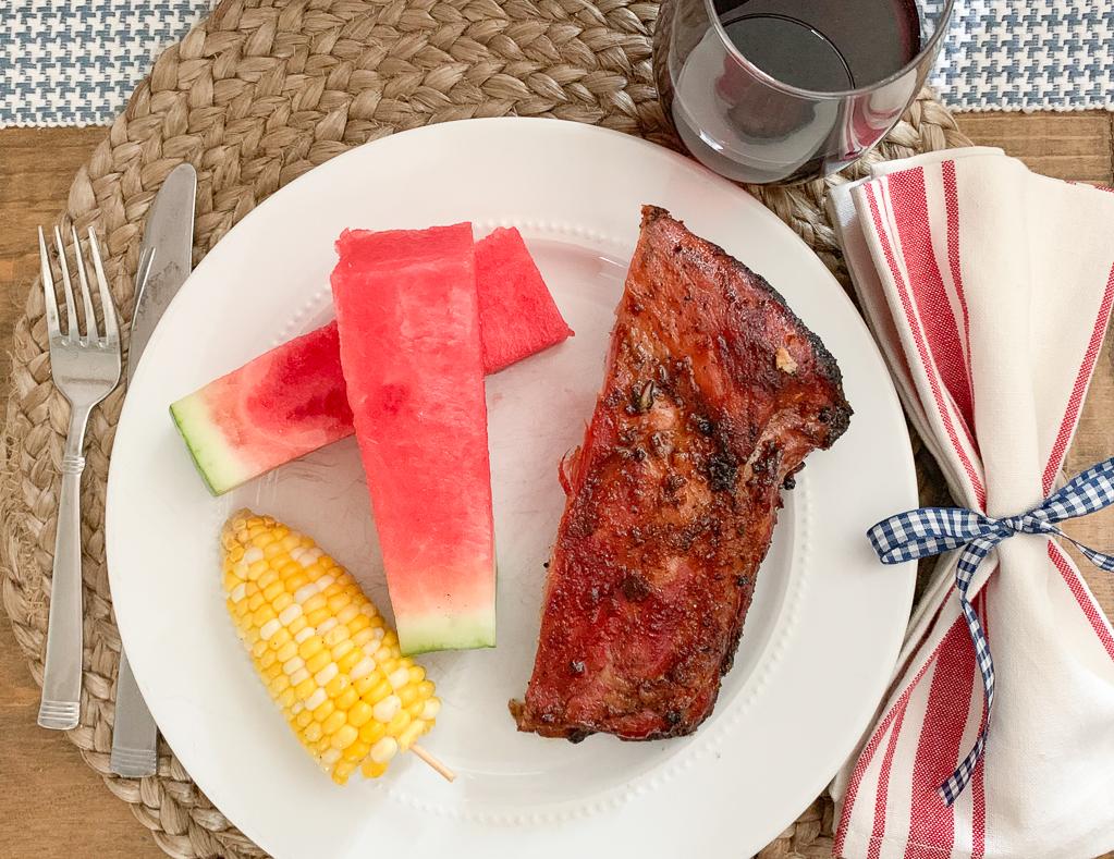 Grilled Ribs Watermelon Corn on the Cob