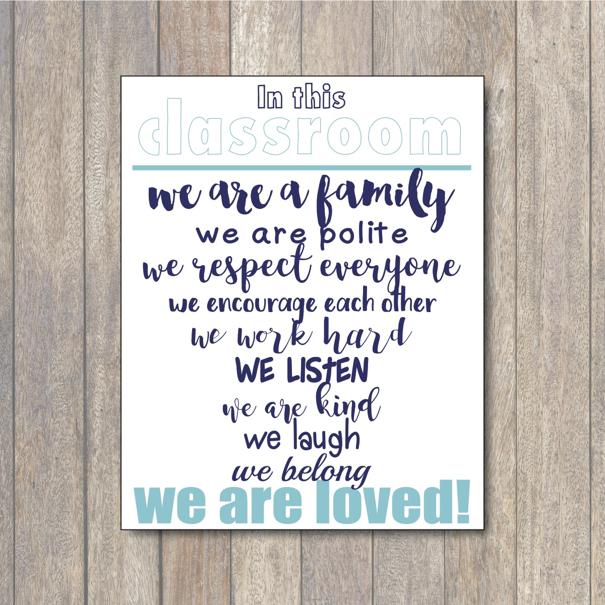 image relating to Printable Sign named Within This Clroom Printable Indicator - Daily Social gathering Journal