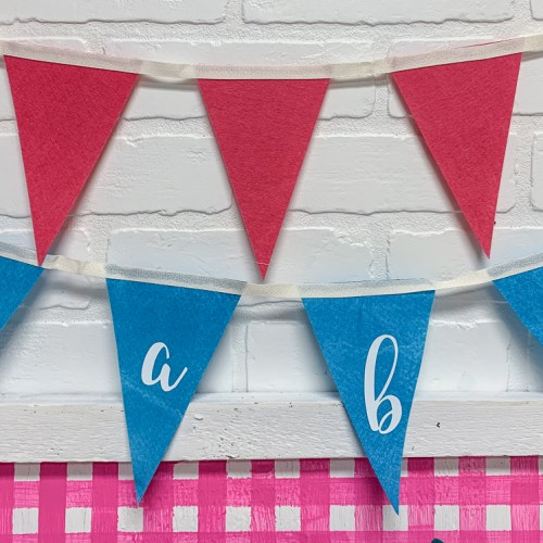 Pink and Blue Pennant Banners