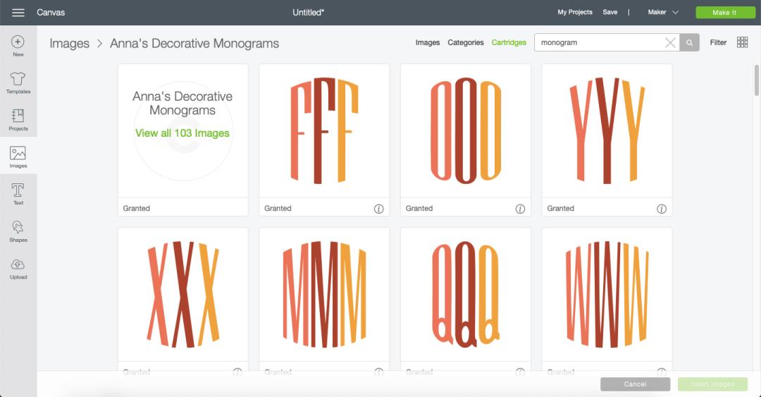 Cricut DS Monograms
