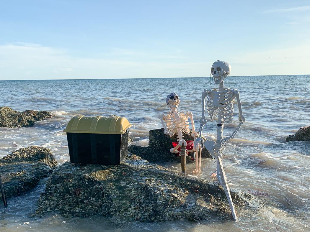 Skeleton Pirate Skeleton Mermaid  Treasure Chest