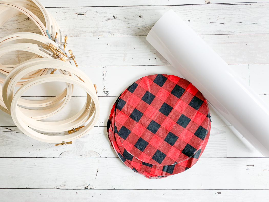 Buffalo Plaid Fabric Embroidery Hoops