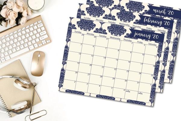 Blue Damask Calendar Gold Mouse Desktop