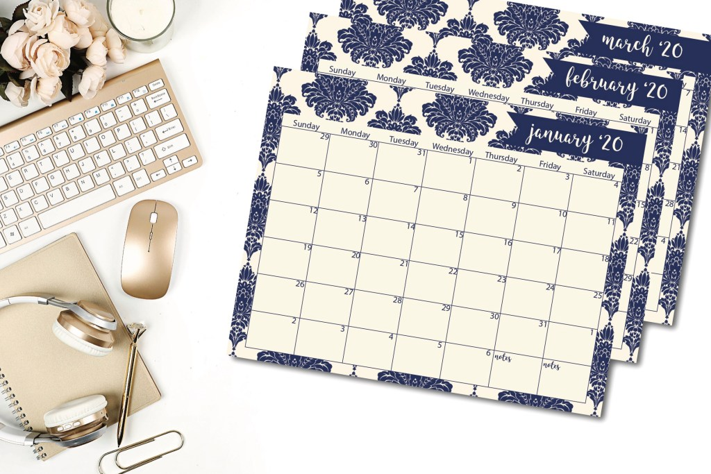 Blue Damask Calendar Gold Mouse Desktop