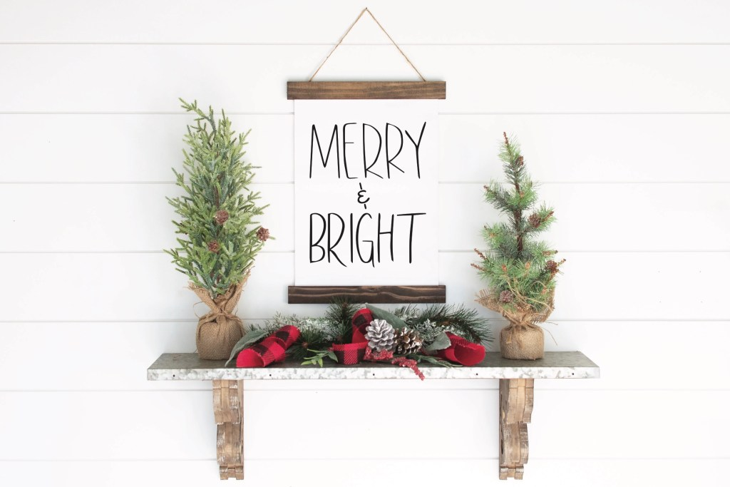 Merry and Bright Farmhouse Christmas Sign