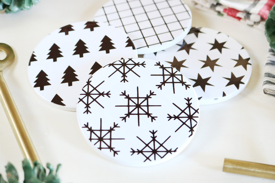 Crafted Sparrow Black and White Holiday Coasters