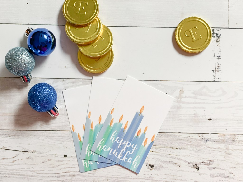 Gold Coin Candy Hanukkah Tags