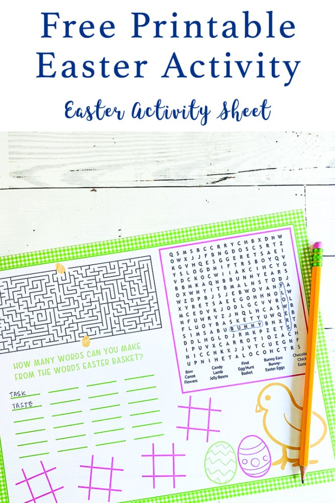 Printable Activity Sheet for Easter