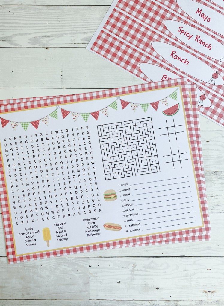 BBQ Party Activity Sheet BBQ Party Printables