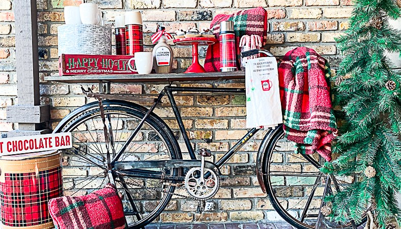 Vintage Bike Bar Cart Christmas Tree