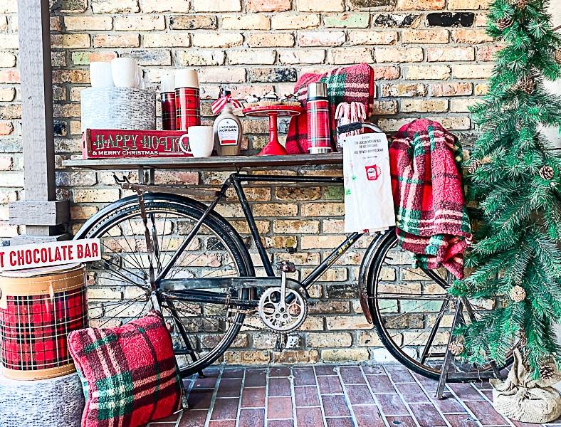 Vintage Bike Bar Cart Christmas Tree