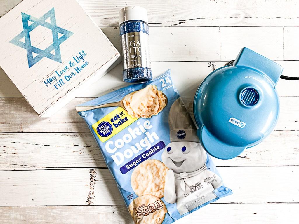 Mini Waffle Maker Cookie Dough Cookie Sprinkles Hanukkah Sign