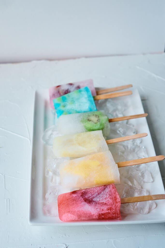 Colorful popsicles on a tray