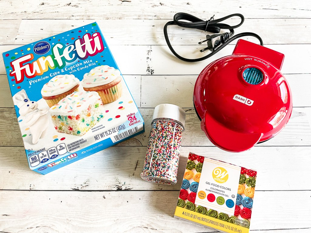 Cake Mix Cookie Sprinkles Mini Waffle Iron Food Coloring