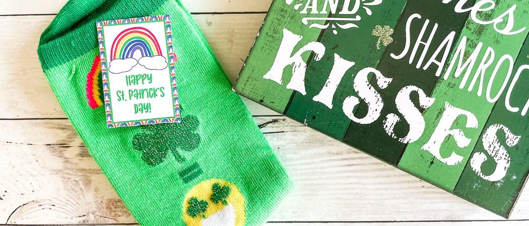 emoji St. Patrick's Day socks Printable Tag