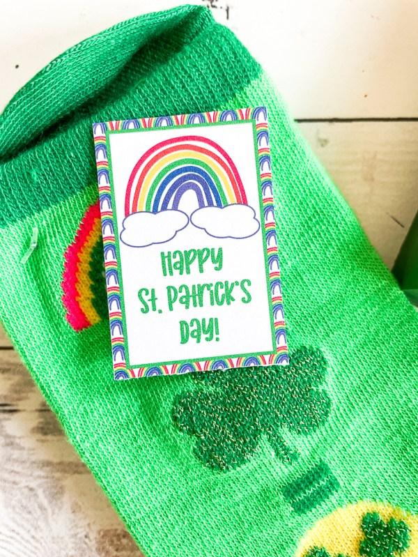 Shamrock Socks Printable Rainbow Tag