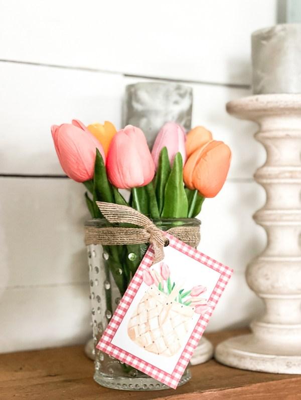 Tulip bouquet farmhouse candlestick