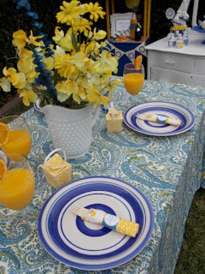 Blue and Yellow Party Table
