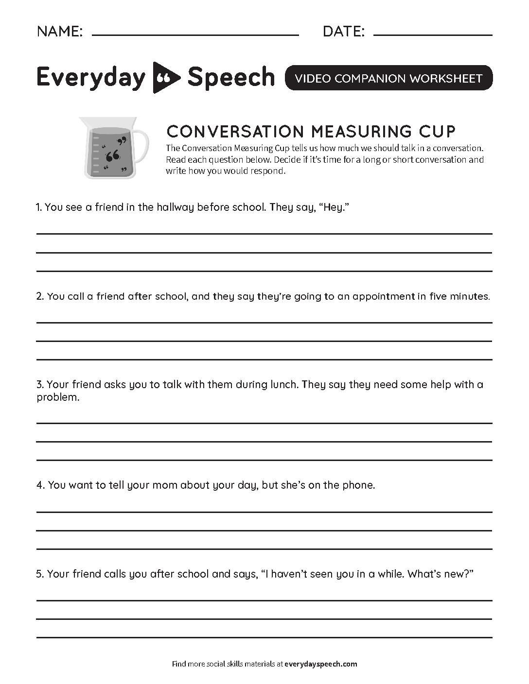 Lesson Plan Conversation Measuring Cup