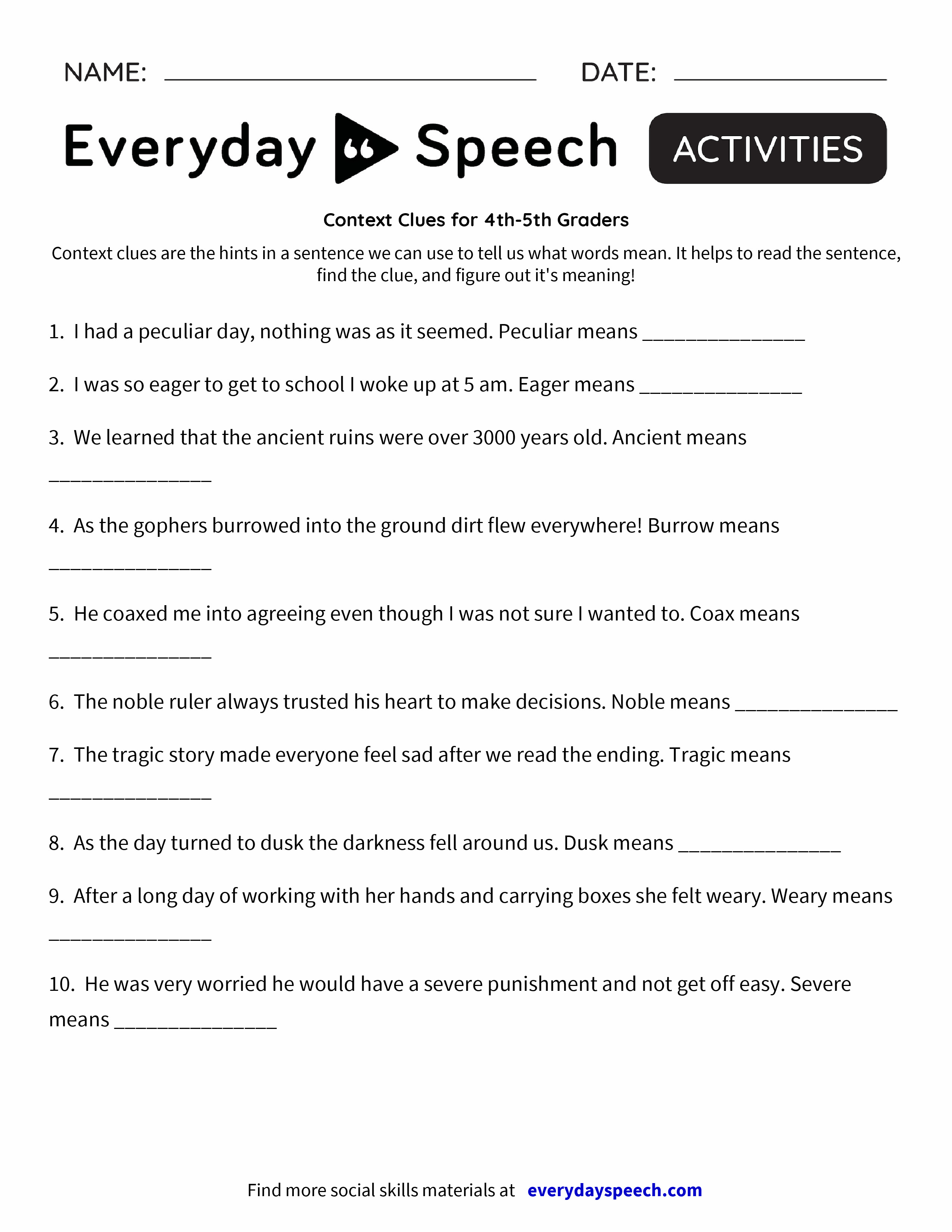 worksheet Worksheets For 5th Graders context clues worksheet 5th grade free worksheets library download c text 4th gr ders everyd y speech speech