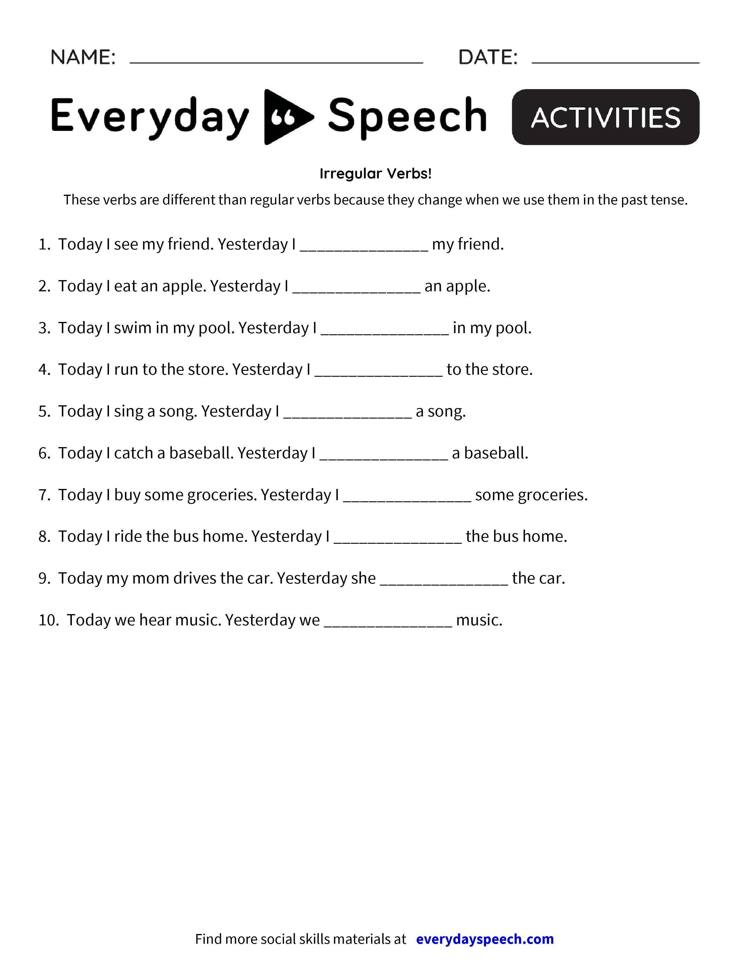 Irregul R Verbs Everyd Y Speech Everyd Y Speech