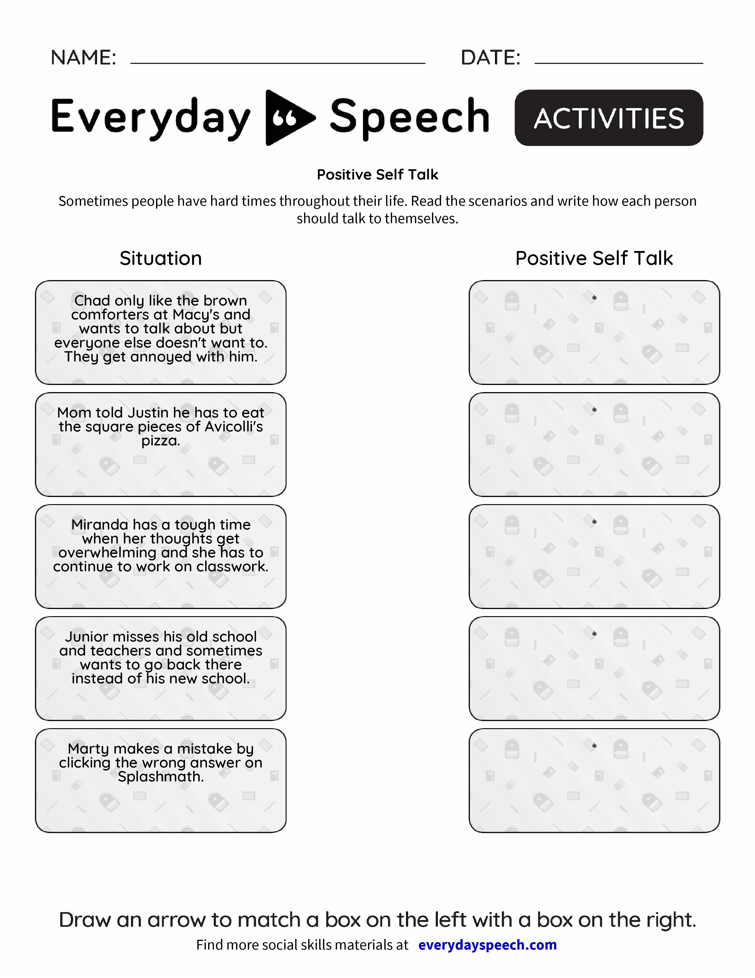 Positive Self Image Worksheets Pdf