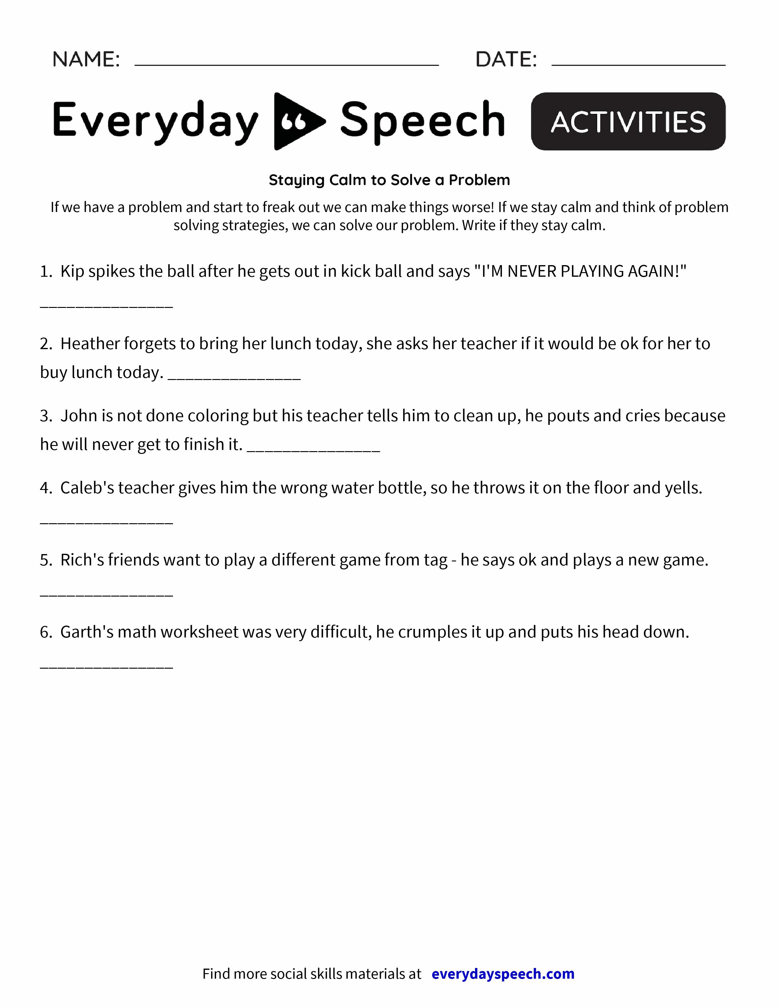 St Y G C Lm To Lve Problem Everyd Y Speech Everyd Y Speech