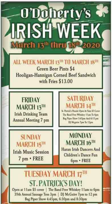 O'Doherty's Irish Grille St. Patrick's Day events in Spokane
