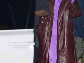 Kim Kardashian Stuns in a Head-to-Toe Purple for Dinner With Kanye West