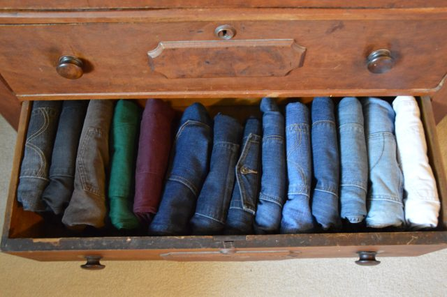 """Jeans drawer: See how nice it is that they are all facing the same direction? And the colors go from dark to light!! When I went back upstairs to fix my t-shirt and shorts drawers, I put them into """"gradient"""" order, too."""