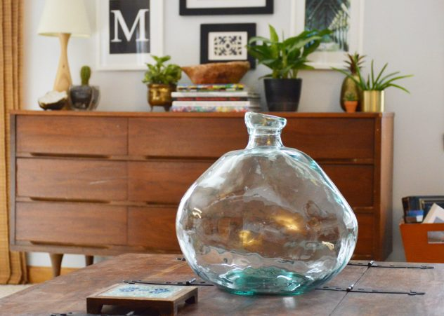 Glass recycled vase