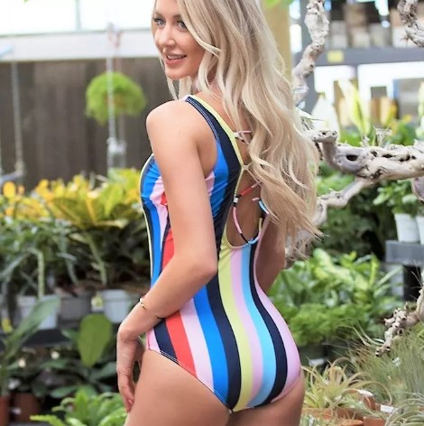 candy stripes one piece swimsuit