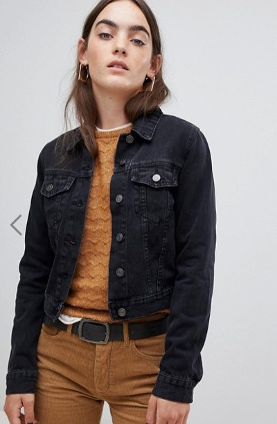 asos black cropped denim jacket