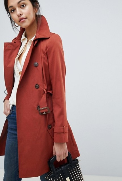 asos rust classic trench