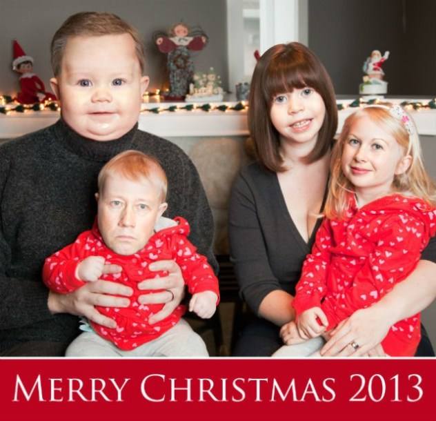 head swap photo holiday christmas card