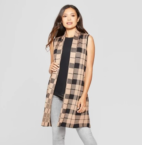 long plaid sweater vest