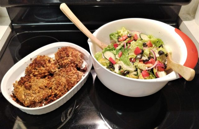 Crispy Baked Chicken Breast with Greek Salad