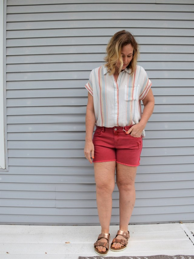 Stitch Fix Cosmic Blue Love Ava Button Down Top and Level 99 Adelynn Distressed Denim Shorts