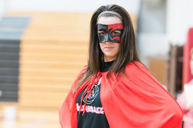 English Teacher Janine dressed as a superhero, Teacher Appreciation