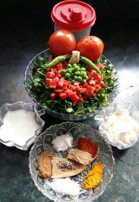 Methi and Paneer Ki Sabzi Ingredients
