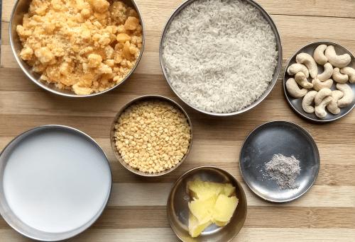 Ingredients for Chakkara Pongal
