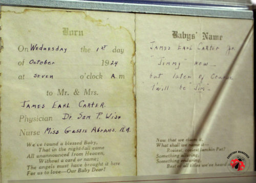 Jimmy Carter birth certificate at the Carter Presidential Museum