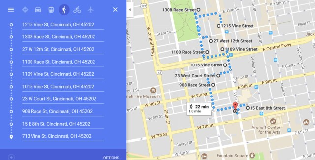 Google Map view of the second half of the walking tour