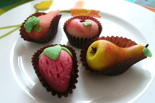 Fruit made out of almond paste