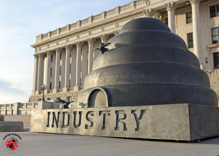 A beehive sculpture on the front steps of the Utah State Capitol building.