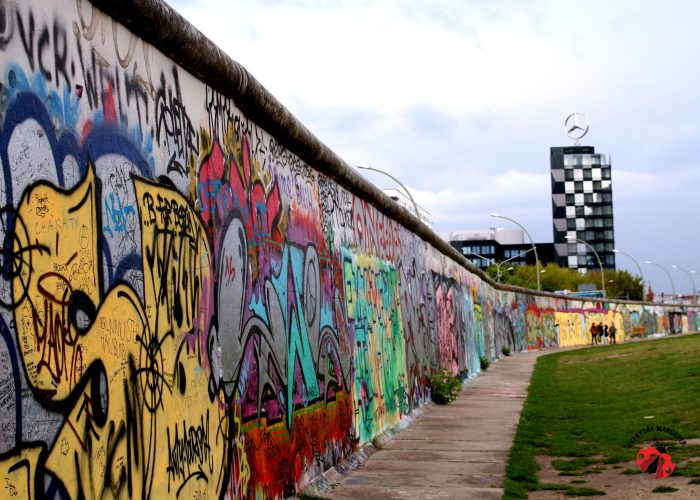 The East Side Gallery features murals on a 0.8 mile remnant of the Berlin Wall