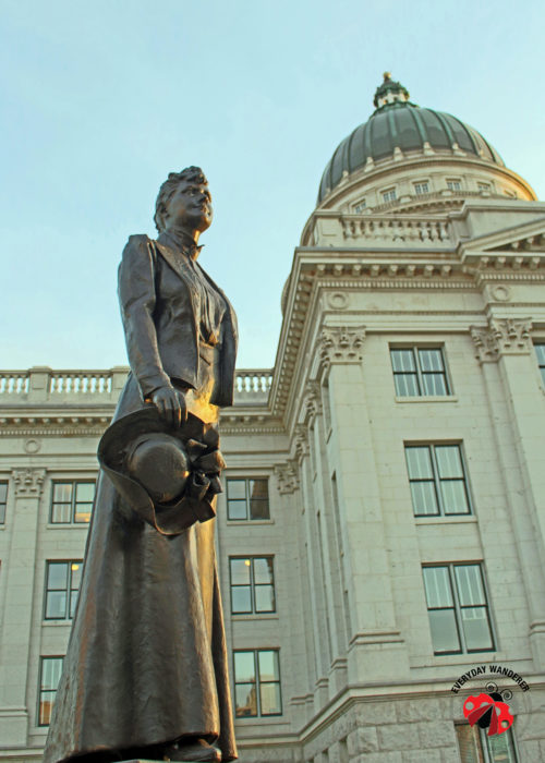 A statue of Dr. Martha Hughes Cannon outside the Utah State Capitol