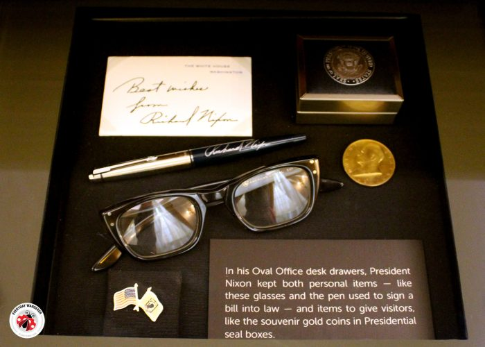 Inside the Oval Office desk drawer at the Nixon Library and Museum