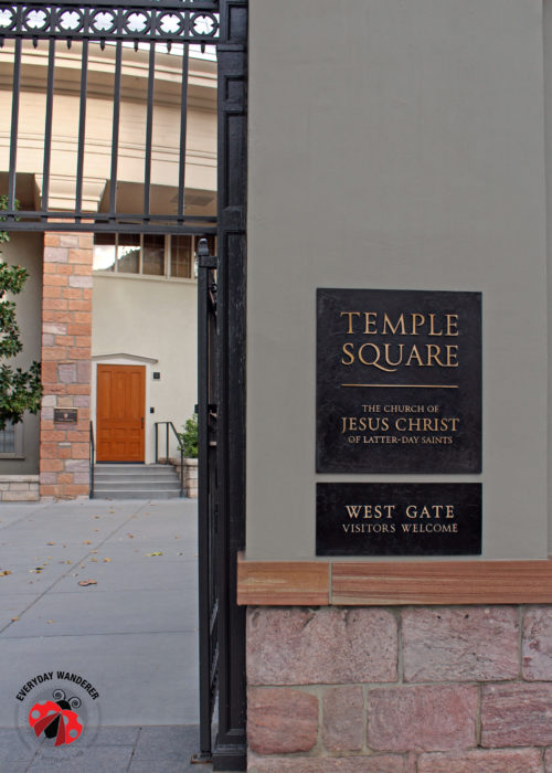 The west gate to Temple Square.